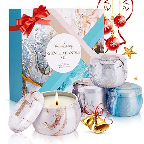 Duftkerze Set Geschenk, Eleanore's Diary Natürliches Sojawachs Kerzen Set (4 Pack), Aroma Kerzen für Bad und Yoga, Duftkerzen Geschenksets für Frauen, Halloween, Geburtstag, Weihnachten Geschenk