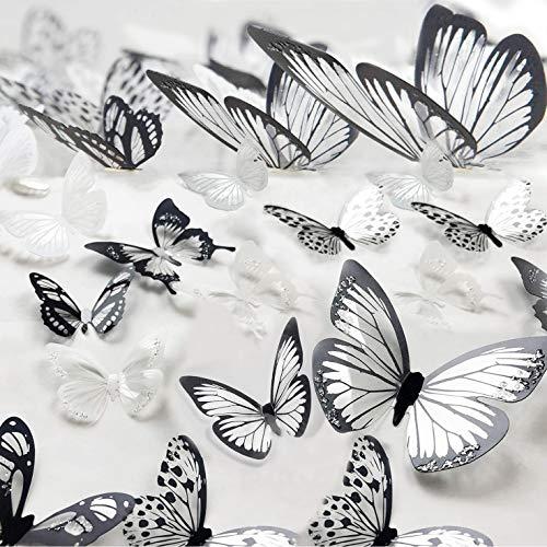 MYBF 72er 3D Schmetterlinge Deko Wanddeko Schwarz Weiß Wand Schmetterling Wandsticker Fenster Möbel Basteln Geburtstag Hochzeit Tischdeko Wandtattoo für Wohnzimmer Schlafzimmer Kinderzimmer
