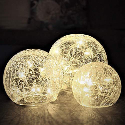 Gadgy Glaskugeln Licht mit Crackle Glas   Deko LED Kugel   Dekoration Wohnung Modern   Leuchtkugel   Tischlampe oder Fensterlampe für Innen und Aussen   Frühlingsdeko