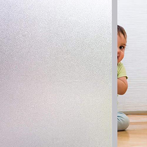 Rwest X Fensterfolie Selbsthaftend Blickdicht Sichtschutzfolie Fenster Milchglasfolie Statische Fensterfolien Anti-UV Folie Für Zuhause Badzimmer oder Büro,Matt, 44,5 X 200 CM