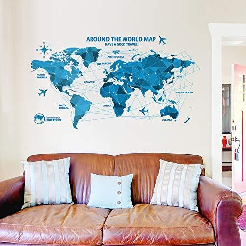 PMSMT Wasserdichtes 3D-Wandtattoo, Blaue Weltkarte, Wandaufkleber, Büro, kreative Kunst für Wohnkultur