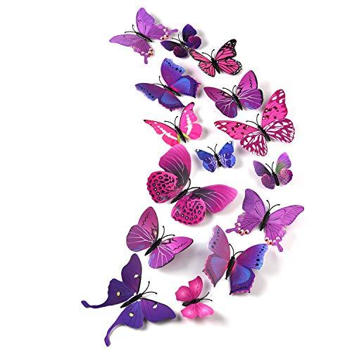 TUPARKA 36 Stück 3D Schmetterlinge Deko Schmetterling Wanddeko Butterfly Wandsticker 3D Wandtatoo Schmetterlinge Balkon Deko (Pink-Lila)