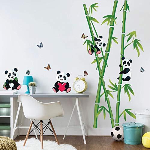 decalmile Wandtattoo Panda Bären und Bambus Wandsticker Kinderzimmer Wandaufkleber Babyzimmer Schlafzimmer Wohnzimmer Wanddeko