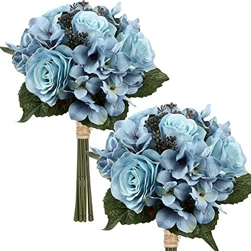 Kunstblume Künstliche Blumenstrauß Kunstpflanze Blumenarrangements 2er Set Hortensie Rosenbouquet Höhe 30cm Dekopflanze für Arrangements Festtags-Tafel o. Hochzeit