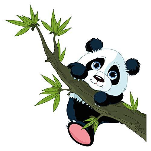 Wandtattoo Babyzimmer Tiere Wandsticker Panda Bär mit Bambus Zweig Wandtattoo T