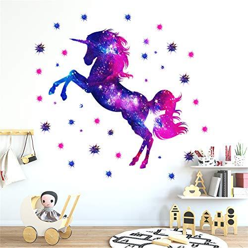 Martin Kench Kinderzimmer Wandtattoo, Einhorn Sternenhimmel Wandsticker Vinyl Tapete Wandaufkleber Dekoration für Mädchen Kinderzimmer Kindergarten