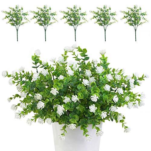 TSHAOUN 5 Stück Künstliche Blumen Unechte Blumen Deko Innen Draussen Pflanzen Sträucher Grün UV-beständige für Blumen Arrangement, Zuhause Garten Braut Hochzeit Party Dekor (Weiß)