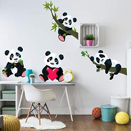 Kinderzimmer Wandsticker XXL Pandabär Klebebilder für die Wand Panda Bären Set Bambus Herz süße Tiere