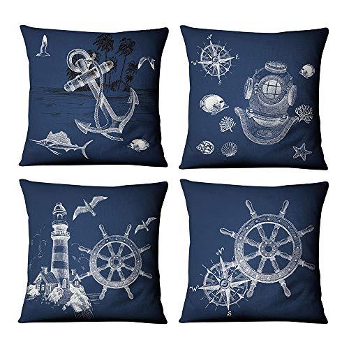 WMWZ Blau Ozean-Serie Kissen Leinen Baumwolle Überwurf Case Soft Bettwäsche Kissenbezug Für Sofa 45 X 45 cm,4 Stück