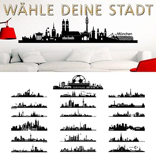 Wandaro Wandtattoo Skyline New York I schwarz (BxH) 140 x 49 cm I Wohnzimmer Städte der Welt selbstklebend Aufkleber Wandsticker Wandaufkleber Sticker W3290