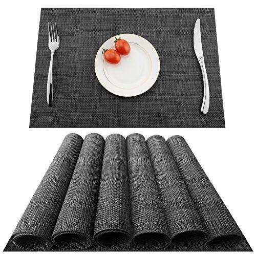 KOKAKO Platzsets(6er Set),Rutschfest Abwaschbar Tischsets Tischmatte PVC Abgrifffeste Hitzebeständig Platzdeckchen,Schmutzabweisend und Waschbare,Platz-Matten für Küche Speisetisch,Dunkel Grau
