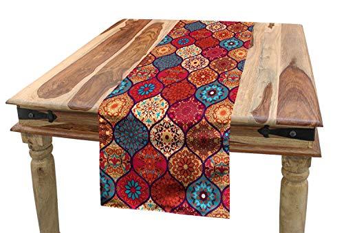 ABAKUHAUS marokkanisch Tischläufer, Orientalisches gewelltes natürliches, Esszimmer Küche Rechteckiger Dekorativer Tischläufer, 40 x 180 cm, Mehrfarbig