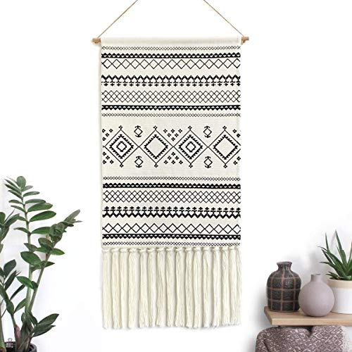 LOMOHOO Aztekenmakramee Wandbehang, Bohemian-Stil, handgefertigt, Baumwolle, Fransenquaste, Banner mit Kupfer-Hängestange für Kinderzimmer, Raumdekoration, Wanddekoration (Sendia-Schwarz)