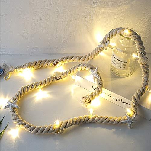 Wankd LED Muschel Lichterkette, Tischdeko maritim LED-Lichterkette 15 Leds Seestern Muscheln Sommer Deko Meer batteriebetrieben, 1,5M (Beiges Baumwollseil)