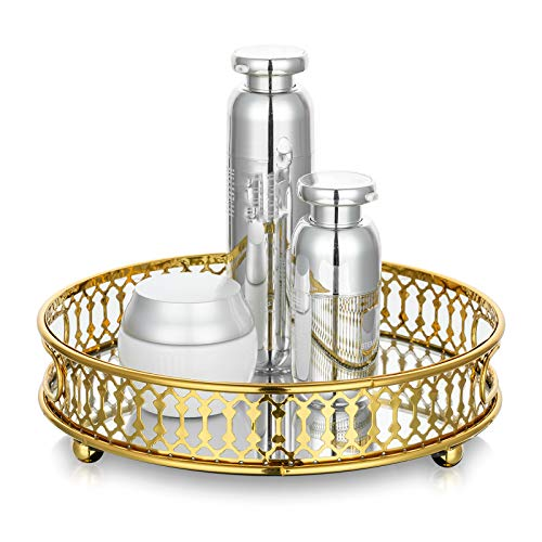 NUPTIO Gold Spiegeltablett, Parfüm Tablett Kerze Tablett Deko Tablett Tisch Verzierte Waschtisch Tablett, Metall Gespiegelt Tablett, Organizer Makeup Tablett für Kommode Badezimmer Schlafzimmer
