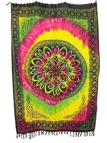 Sarong Pareo Keltisches Blumen Mandala II gelb-grün-pink/große Auswahl schönste Farben/Wickelrock Strandtuch Sauna-Tuch Wickelkleid Schal Wickeltuch Bademode Freizeitmode Sommermode/aus 100% Viskose