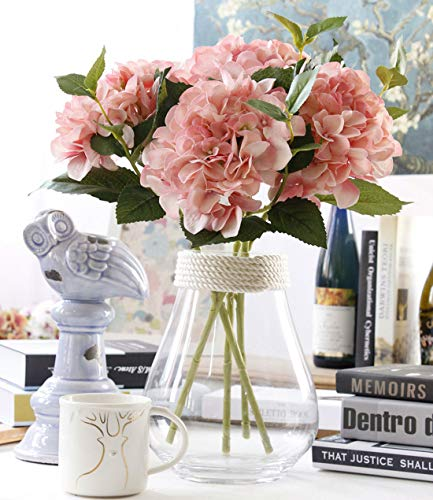 Famibay Seide Hortensie Künstliche Blumen Rosa für Dekoration Blumensträuße Hochzeit (Rosa)