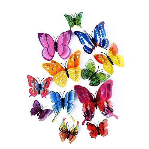 Künstliche 3D Schmetterlinge mit Doppelten Flügeln, Hochzeits/Party/Heim Dekoration, Handwerk Metterling, Wandaufkleber, 12 Stück (Mehrfarbig)