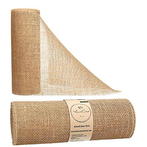 AmaCasa Eco Tischläufer Jute 30cm breit, 10m Rolle   gestärkter Jutestreifen mit kompostierbarem Etikett   Tischband für wundervolle Dekorationen (Natur - Braun, 30cm/10m)