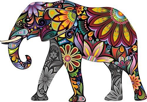 Thorpe Signs Großes Wandtattoo, Wandaufkleber, Motiv: Abstrakter Elefant, farbig, aus Vinyl, Vinyl, multi, Large: 83cm x 58cm (33in x 23in)