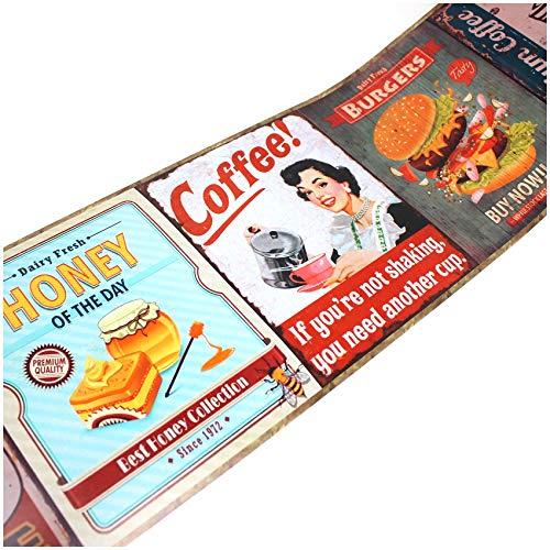 Wandtattoo Selbstklebende Retro Bordüre 2,5m x 18cm Vintage Old School Look Wanddekor Wohnzimmer Wand Küche Wandaufkleber Wandsticker W004 (Nr. 1 Food 1)