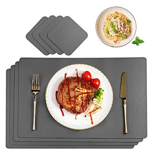 CHONLY Platzsets Abwischbar PU Kunstleder Grau Tischsets 4er Sets Wasserdicht Platzdecken Lederoptik 45x30cm und 4er Glasuntersetzer Geschenke Kiste für Hause Küche Restaurant und Hotel