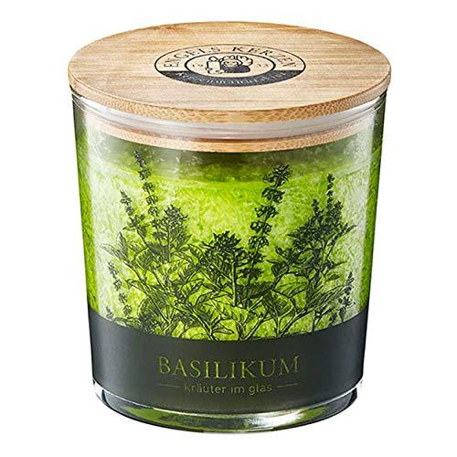 Kerze im Kräuterglas mit Bambusdeckel duftet aromatisch nach Basilikum 9 cm hoch