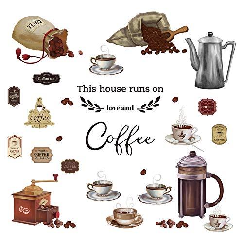 decalmile Wandtattoo Coffee Kaffeebohnen Wandaufkleber Sprüche und Zitate Küche Wandsticker Wohnzimmer Esszimmer Cafe Wanddeko