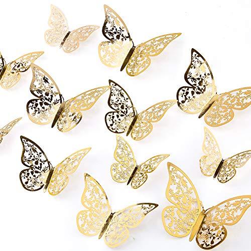 AIEX 24 Stück 3D Schmetterlinge Ornamente Vivid Abnehmbare Aufkleber (Gold)