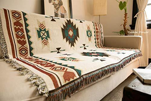 SHIYANTQ Decke im Ethno-Stil, geometrisch, Aztekenmuster, Navajo-Decke, Überwurf für Sofa, Kunst-Deko, Bohemian-Decke, 150 x 210 cm (1,5 kg)