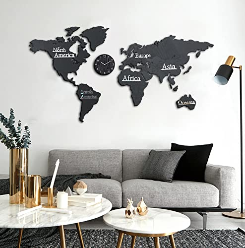 3D Weltkarte Holz,Weltkarte Wand,Wanduhr Funk Groß,Weltkarte Aus Holz,Weltkarte Wanddeko Wohnzimmer Schlafzimmer Hintergrundwand Büro M(130*66Cm) Schwar