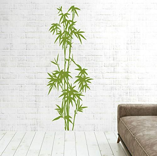 tjapalo® pk274 Wandtattoo Bambus Schilf Strauch Dekoration Wandaufkleber Wandtattoo Wohnzimmer Bambus, lindgrün, Größe: H58xB22cm
