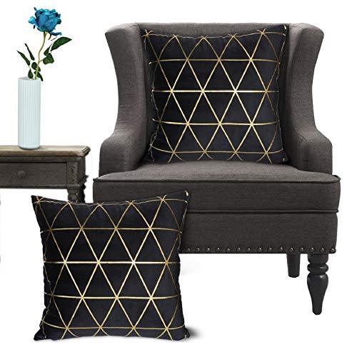 Wende Kissenbezüge, quadratische dekorative Samtkissenbezüge, 45x45cm, 2er-Set(Schwarz)