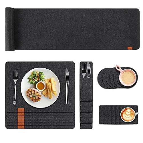 FASCINATE Platzset Abwischbar aus Filz 25er Set, Tischset Filz mit Untersetzer und Bestecktaschen, Waschbare Tischuntersetzer Platzdeckchen für Küche, Familie