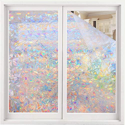 Volcanics Fensterfolie Selbsthaftend Blickdicht Sichtschutzfolie Fenster 3D Fensterfolie 44.5 x 200 cm Sichtschutz Glasfolie Statisch Haftend UV-Schutz ohne Kleber Dekofolie