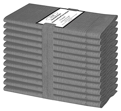 Baumwolle-Klinik 12er-Set Stoffservietten 46x46 cm, Hohlsaum Servietten Hochzeit, 100% Slub Baumwolle Servietten Maschinenwaschbar - Dunkel grau