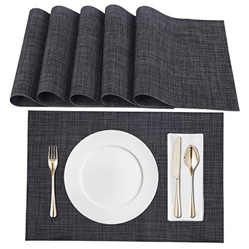 Amazon Brand - Eono Satz von 6 Platzsets , Tischsets PVC Hitzebeständig, Grifffeste Hitzebeständig Platzdeckchen Antifouling und Waschbar