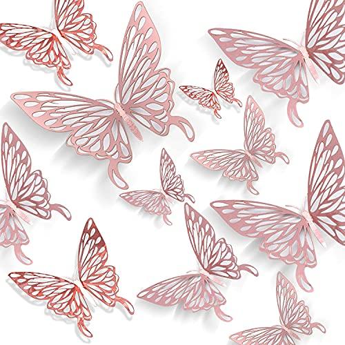 3D Schmetterlinge deko Wanddeko Schmetterlinge Wandtattoo Fenster Möbel Basteln Geburtstag Hochzeit Tischdeko Wandkunst für Wohnzimmer Schlafzimmer Kinderzimmer Roségold