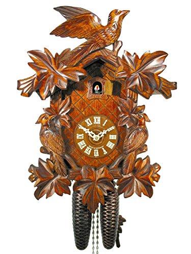 Kuckucksuhr Schwarzwald Kukus-Uhr mechanisch 8-Tage mit 3 Vögel & 7 Laub, Kukuksuhr Cuckoo Clock Schwarzwalduhr Kuckusuhr