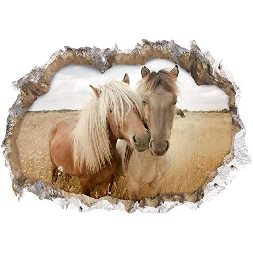 3D Wandtattoo 'Pferde' | dreidimensional, selbsthaftend, abwaschbar einfach anzubringen und abzulösen | 70x100cm [Motiv: Pferde]