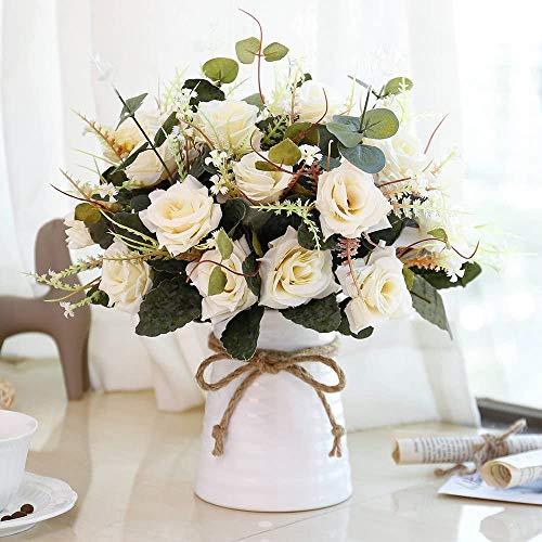 LESING Künstliche Blumen in Vase Seidenrosen with Vasen Blumesträuße mit Keramikvase für Dekoration(Champagner)