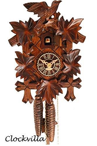 Original Schwarzwälder Geschnitzte Kuckucksuhr von Clockvilla mechanisch Vogel neu aus dem Schwarzwald