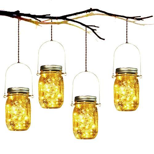 Solarlampe, SUNNOW 4 Stück Solar Mason Jar Licht LED Solar Licht Einmachglas Laterne Solarleucht für Außen Garten Deko, Weihnachtsferien Einmachgläser Wasserdichte Garten Hängeleuchten (Warmweiß)…