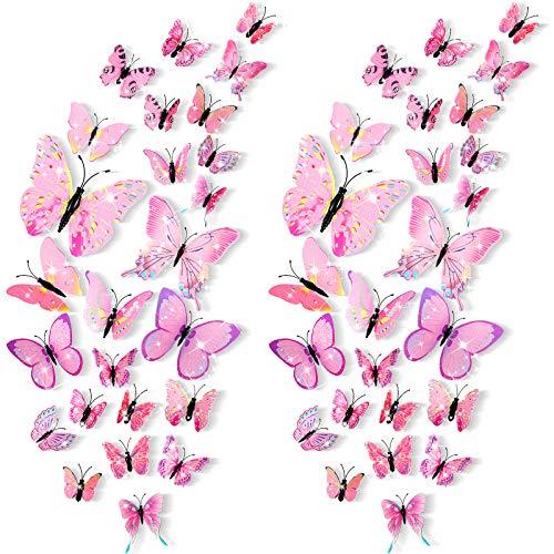 48 Stück 3D Schmetterling Wandaufkleber Abnehmbare Schmetterling Wandtattoos Bling Lebhafter Schmetterling Wandgemälde für DIY Party Büro Zuhause und Raum Dekoration (Rosa)