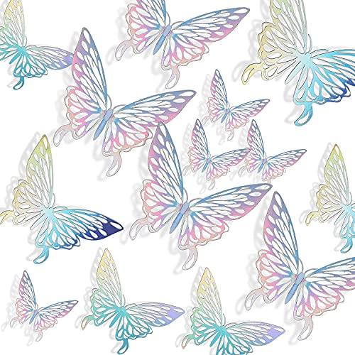Schmetterlinge Deko Wandtattoo 3d Wanddeko Wandsticker DIY Wandkunst Aufkleber für Wohnung, Raumdekoration Bunt