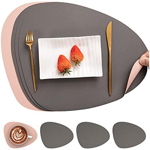 Myir JUN Tischsets Leder und Untersetzer, Tischsets Abwaschbar Rund Doppelseitigen rutschfest Platzdeckchen Leder Kunstleder Tischset Lederoptik Platzset (Grau Pink)