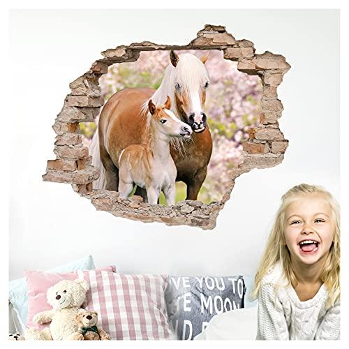 Little Deco 3D Wandtattoo Wandsticker Kinderzimmer Mädchen Pferd Horse Wandaufkleber Spielzimmer Wanddeko Schlafzimmer Wandbild Loch in der Wand Poster DL631