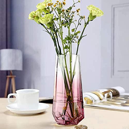 Glasblumenvase, Ins Style Kristallklare Vase Diamantbodenvase Handgemachte Blumenblume Pflanzenbehälter Terrarien Glasvase für Blumen Hydroponik Pflanze, Hochzeit Einweihungsparty Home Office Dekor