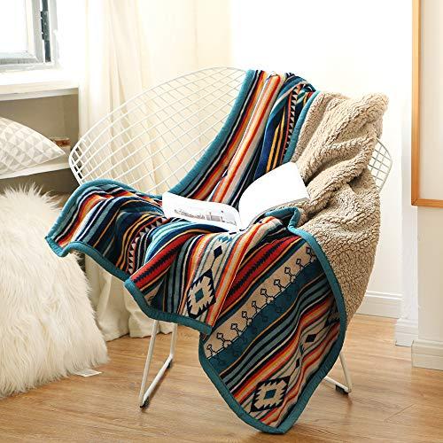 Qucover Kuscheldecke Wohndecke 150x200cm flauschig & weich Sofadecke Couchdecke zweiseitige Decke Cashmeer Gefühl Fleecedecke Bunte Streifen