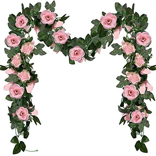 ADORAMOUR Künstliche Blumen Girlande für Zimmer Deko, Aesthetic Fake Rosen für Wand Wohnzimmer Schlafzimmer Balkon Garten Party Hochzeit Innen Außen-2 Stück, Rosa